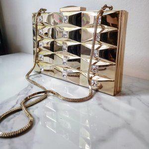 Kate Spade SAMPLE Gold Metal Swarovski Crystal Evening Clutch